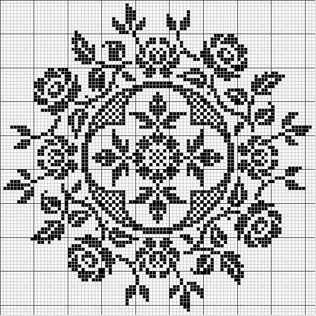 Rose. Free sewing pattern graph for cross stitch.