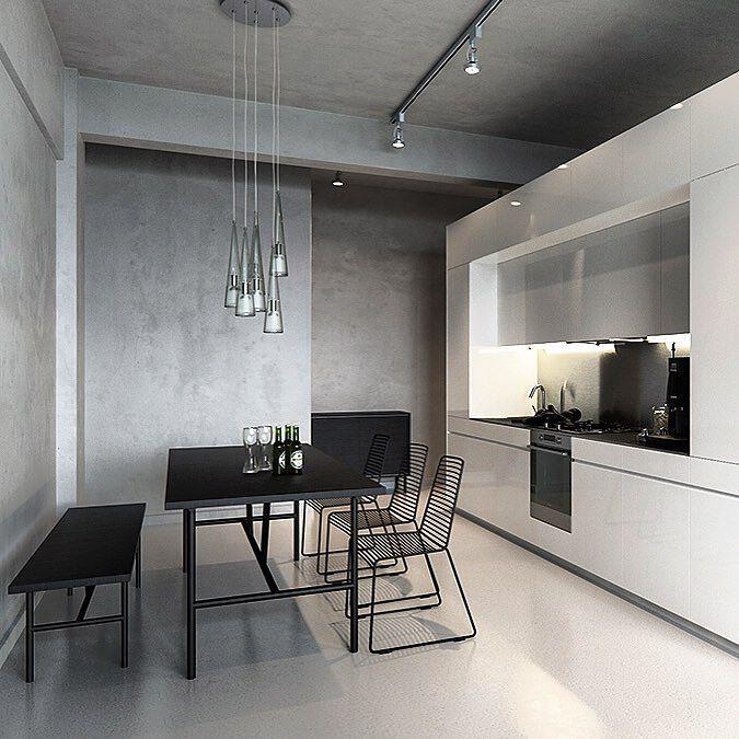 Cozinha minimalista em cinza branco e preto por Sergey Baskakov (www.inandoutdecor.com.br) #inandoutdecor // Minimalist kitchen in gray white and black by Sergey Baskakov by inandoutdecor