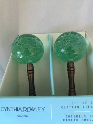 Cynthia Rowley Curtain Tiebacks Green Glass Set 2 NEW Brass Color Metal Base in Home & Garden, Window Treatments & Hardware, Curtain Rods & Finials | eBay