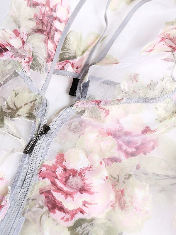 Buy Organza Bomber Jacket In Peony Print at Style Moi