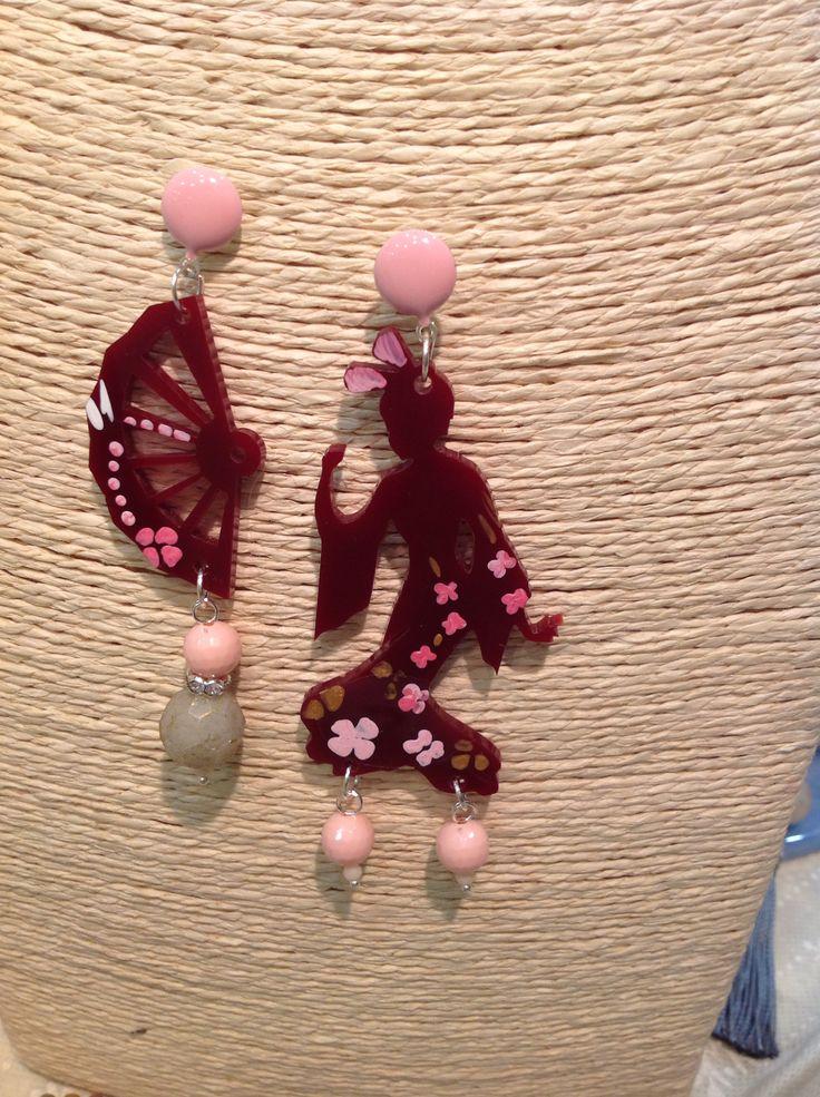 Orecchini Geisha con ventaglio