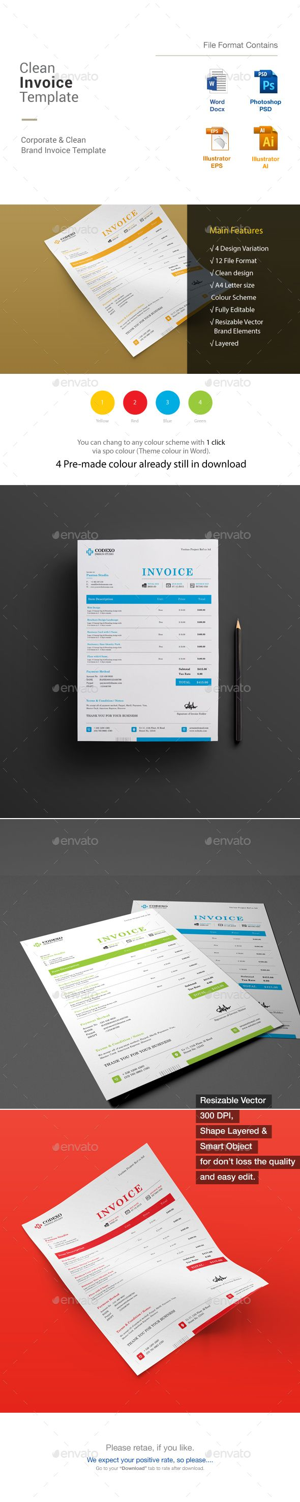 Clean Invoice Template PSD, Vector EPS, AI, MS Word