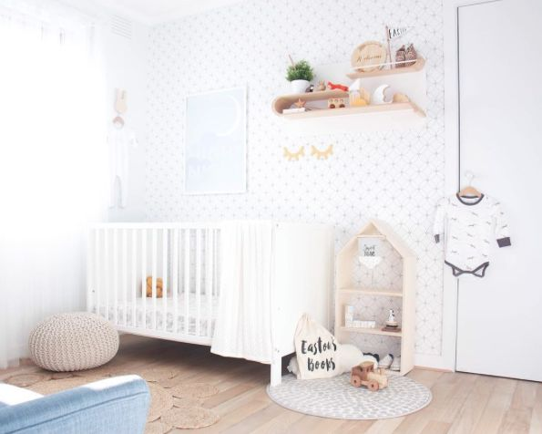 Dreamy neutral nursery with pops of mustard yellow by Top Knot Mum featuring black and white Kaleidoscope wallpaper