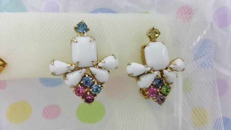 Czech Milk Glass and Pastel Rhinestone Clip Earrings Detailed Delicate Gold tone