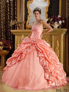Princess Strapless Beaded Quinceanera Party Dress with Pick-ups