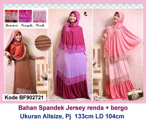 Baju Gamis Modern Terbaru - Detail produk model bajuGamis Jersey Polos Renda 721 : Bahan : Spandek jersey kombinasi renda Kode : BF902721 Ukuran : Allsize, Panjang 133cm, Lingkar dad