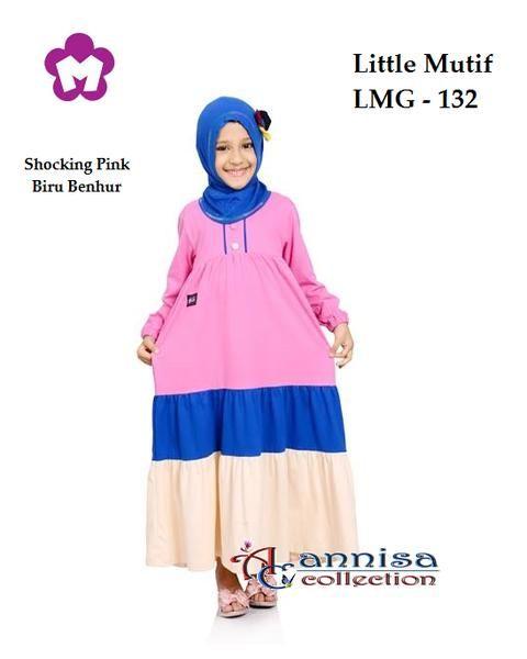 Longdress Gamis Anak Little Mutif 132 Shocking Pink