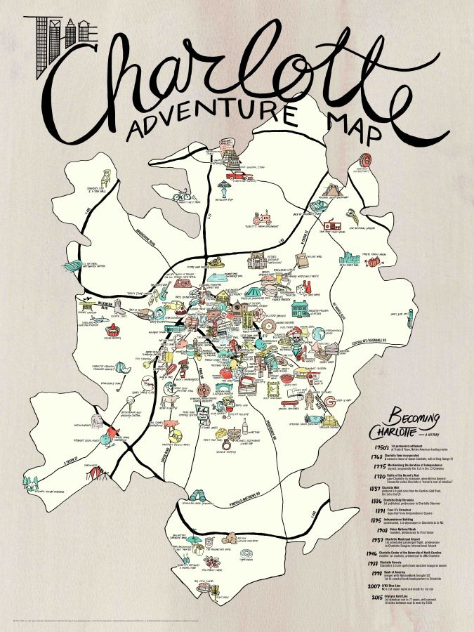The first in a new series, the Charlotte Adventure Map is a handmade labor  of love to honor the Queen City — Charlotte, North Carolina. Hand-drawn and  painted in watercolor and pen-and-ink, it includes our handpicked favorites  of things we consider to be truly adventurous and unique, from revered  Charlotte institutions to off-the-beaten path discoveries and insider  secrets.   This is the same double-sided map as we offer for the road, but unfolded  for hanging and on heavier paper. We…