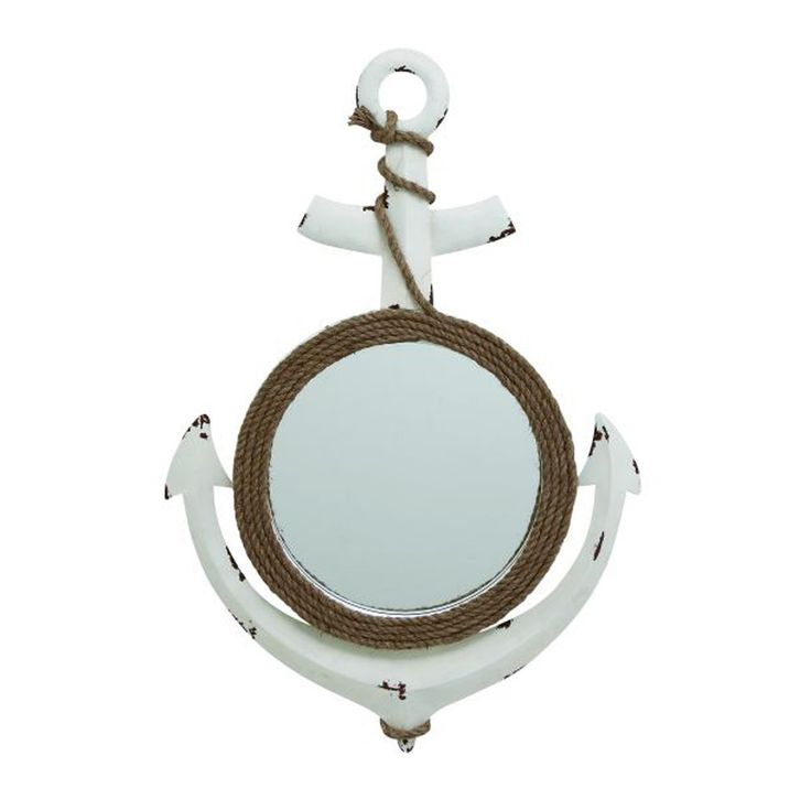 Charming Metal Wood Rope Wall Mirror. Beautify Your Home Interiors In An Easy And Quick Way By Making This Metal Wood Mirror A Part Of It. Being Made From Quality Materials, It Is Assured To Last In Great Condition For Many Years. This Anchor Shaped Mirror Has A Round Mirror In The Middle And Features A Jute Rope Wrapped Around It That Makes It A Unique One. Fixing This Mirror To Any Wall Is An Easy Task. Place It In The Lobby, Hallway Or Kitchen Area For A Classy Look. This Anchor...