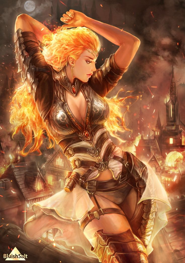 Fire Witch, Bluish Salt on ArtStation at https://www.artstation.com/artwork/3m8Bv
