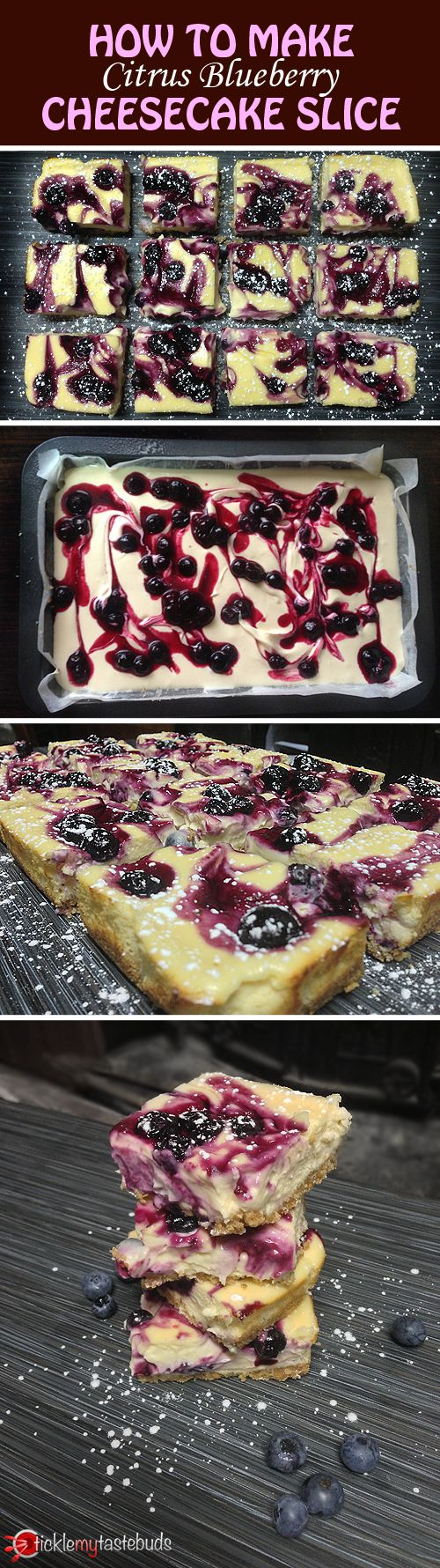 Follow our step-by-step beginner's guide to creating our delicious citrus blueberry cheesecake slice - tangy, yet sweet, this will leave your mouth watering for more!