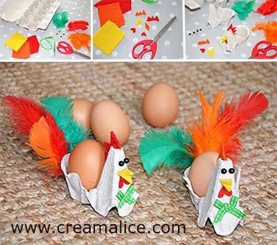 ❀ ✄ DIY Coquetier Poule Boîte Oeufs / DIY Egg Carton Chicken Egg Cup ✄ ❀ http://www.creamalice.com/Coin_conseils/1-loisirs_creatifs_2014/4A-Tuto_Coquetier_Boite_oeufs/DIY_Coquetier_Poule.htm