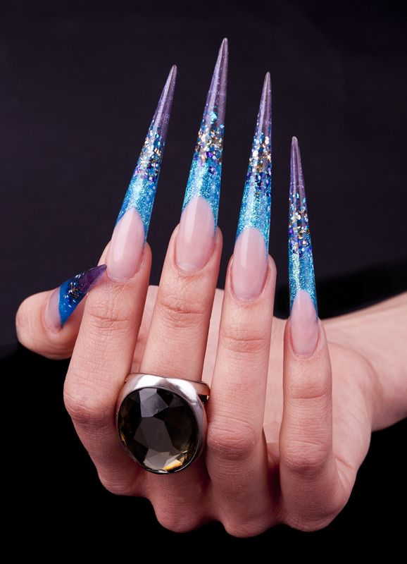 Nail art by Eszter Varga  Extreme long stiletto nails
