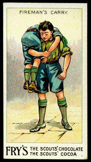 Trade Card - Boy Scout - Fireman's Carry by cigcardpix, via Flickr