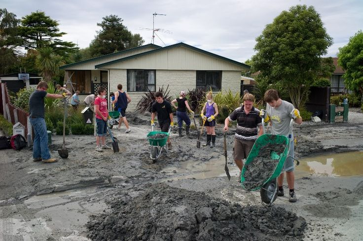 Student Volunteer Army clearing silt from Christchurch homes. Photo: SVA archives