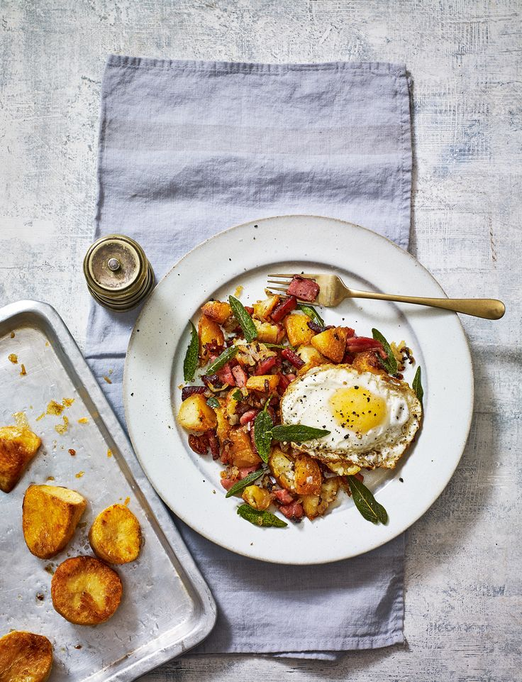 Dig into this savoury roast potato and ham hash with sage-fried eggs recipe