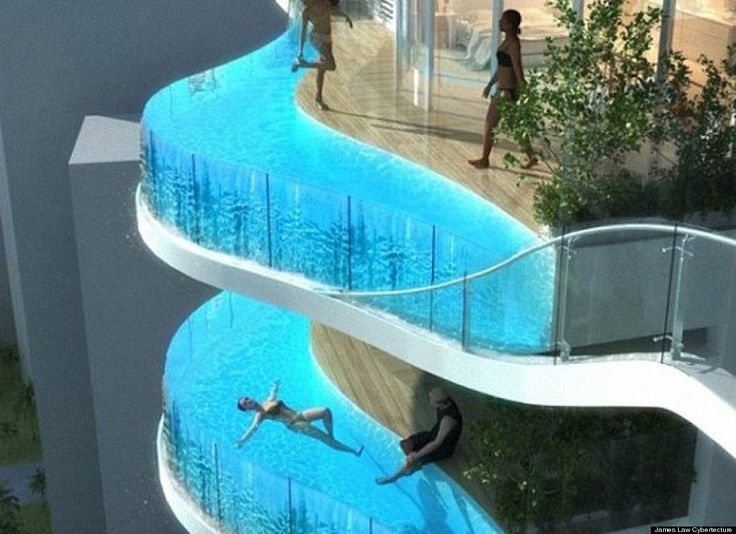 Kind of a neat concept.  Personal pools at apartments.  That would be a lot of extra weight though... and maintenance!: Swimming Pools, Idea, Favorite Places, Dream, Balconies, Space
