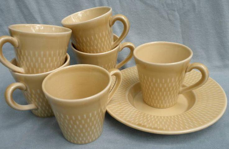 Tea Cup Lot of 6 & 1 Saucer Stavanger Flint Norway Ildfast Inger Waage Yellow Vintage