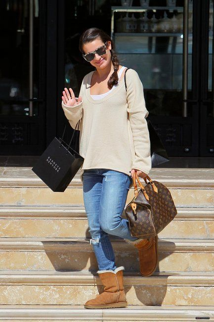Lea Michelle from Glee wearing UGG Bailey Button in Chestnut