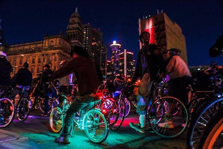 Detroit night bike ride. Fun Bikes lit up with LED wheel ...