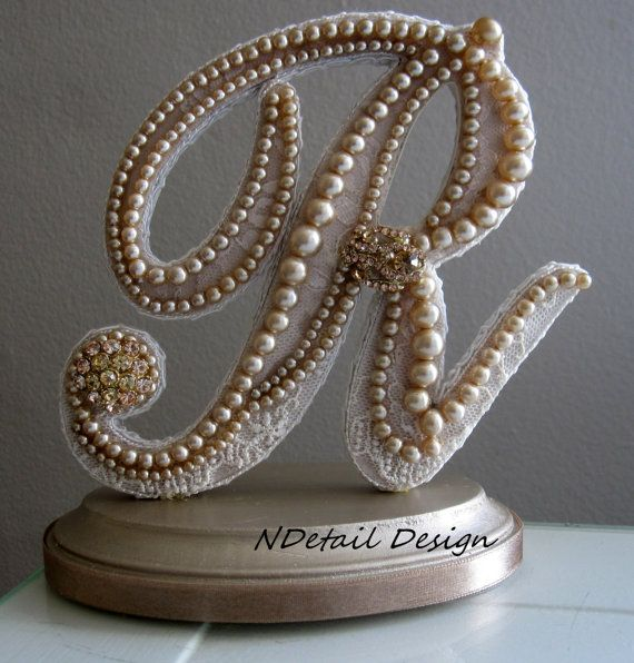 Monogrammed Custom Vintage Pearl Wedding Cake Topper & Display: Antique Bridal Accessories | P NOT R!!