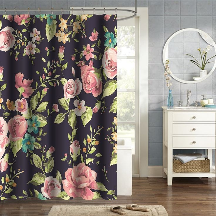 Roma Style Shower Curtain with Lush Flowers and Leaf, HGOD Designs Floral Paisley Waterproof Shower Curtain, 60 Inches X 72 Inches, Purple