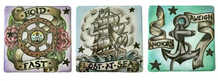 Homeware Highlights! Cushions, mugs and new hand made coasters #cushion #mug #coaster #handmade #craft #tattoo #tattooart #tattooartwork #tattoodesign #tattooinspiration #loastatsea #holdfast #anchorsaweigh #anchor #anchortattoo #nautical