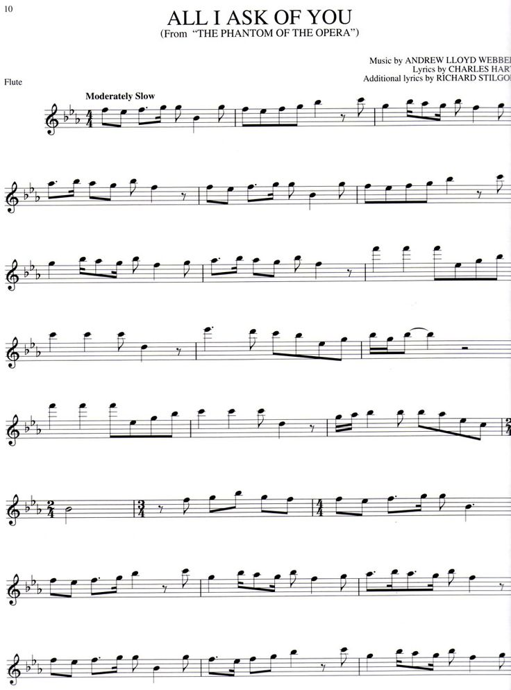 Free online flute sheet music - Phantom of the Opera, All I Ask of You