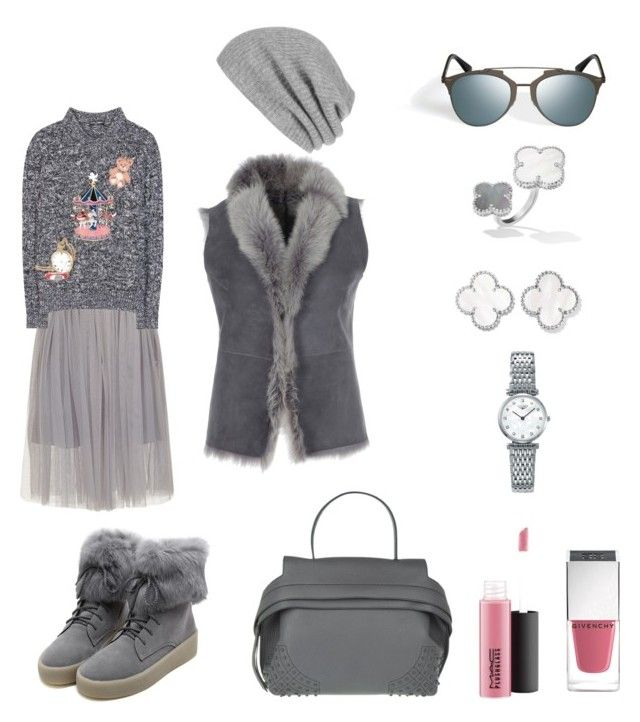 """""""Total grey"""" by lupik on Polyvore featuring мода, White + Warren, Dolce&Gabbana, Tod's, MAC Cosmetics, Givenchy, Longines и WithChic"""