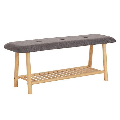 Buy Says Who for John Lewis Why Wood 2-Seater Cushioned Dining Bench, Oak / Grey Online at johnlewis.com