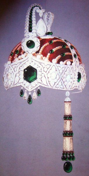 1925.  Rendering by Charles Jacqueau of Cartier for a headdress ornament for a  turban, a project suggested by Maharaja of Kapurthala. Courtesy  Cartier.