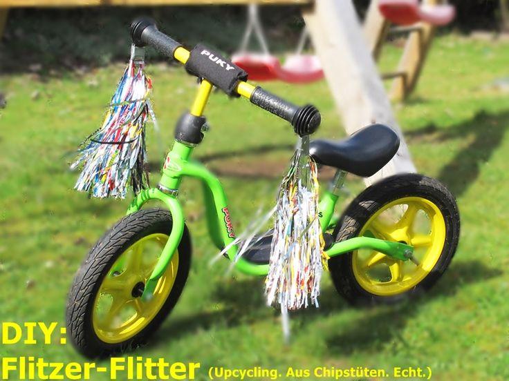 Upcycling, Upcycling aus Chipstüten, Glitzer fürs Fahrrad, Laufrad Pimpen, Basteln, Recycling, Selbermachen, Am Objekt