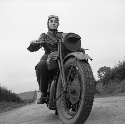 An Auxiliary Territorial Service (ATS) motorcycle dispatch rider, Northern Ireland, 26 September 1941