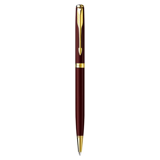 Parker Sonnet Refresh Red Lacquer Gold Trim Slim Ballpoint