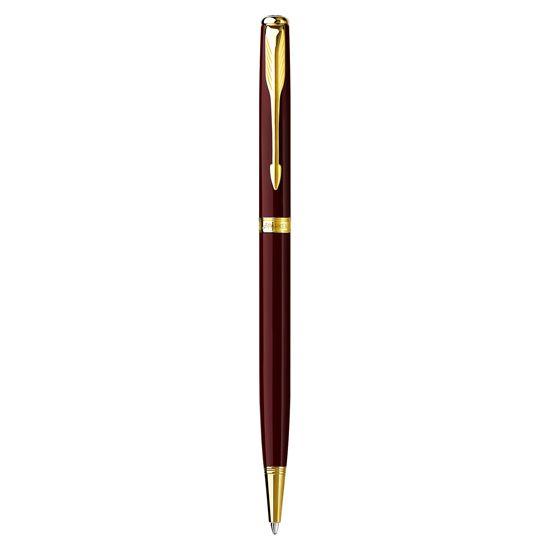 Parker Sonnet Refresh Red Lacquer Gold Trim Slim Ballpoint Pen