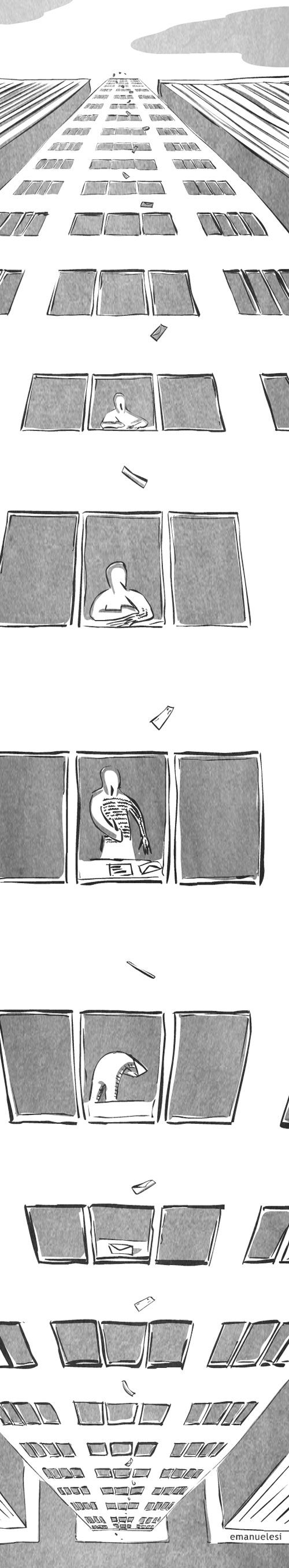 The Letter by Emanuelesi #webcomic.      Could be and interesting lesson I'm here... And have them draw different things happening in the windows.