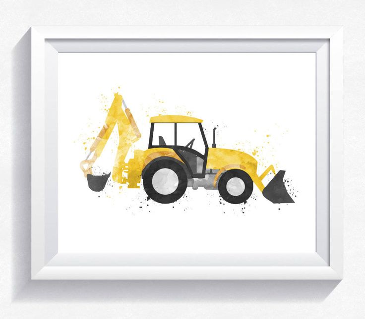 Excavator printable watercolor digger printable excavator wall art excavator print excavator download boy room wall art, toddler bedroom art by HappyLittleFrog on Etsy