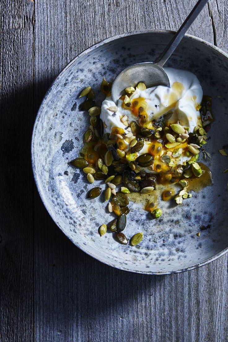 Yogurt with Seeds. Passion Fruit. Pistachios. Manuka Honey and Black Salt