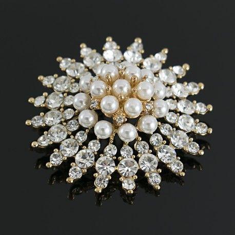Broches Prendedores Perlas y Cristales Brillantes Lindas Joyas