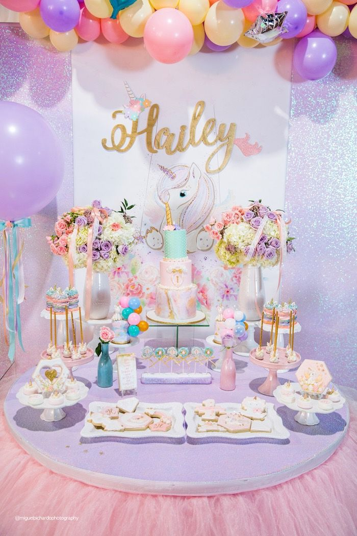 454d0a13cb4 Unicorn Themed Dessert Table from a Sparkly Baby Unicorn Birthday Party on Kara s  Party Ideas