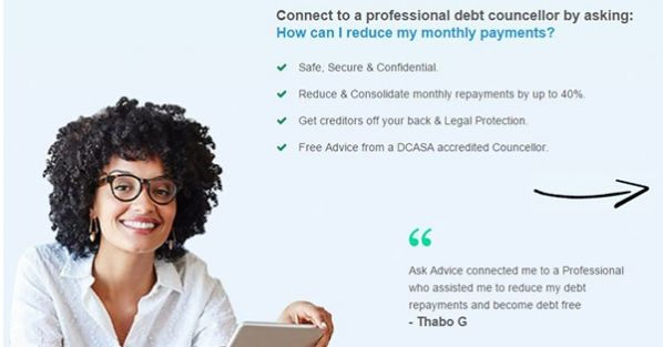 Ask Advice will connect you to a Professional who can assist you to reduce your debt payments or become debtfree #ad