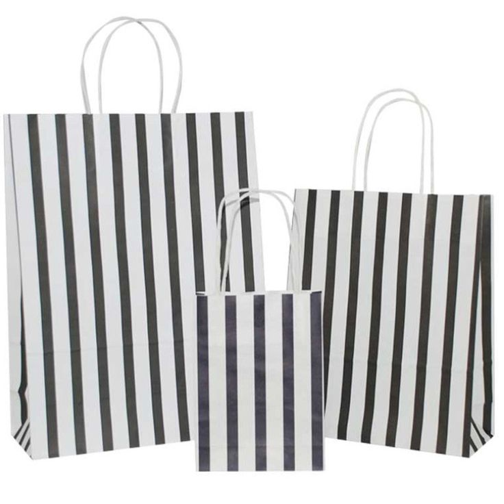 Buy Black Stripes on White Carrier Bags with Twisted Handles – Pico Bags
