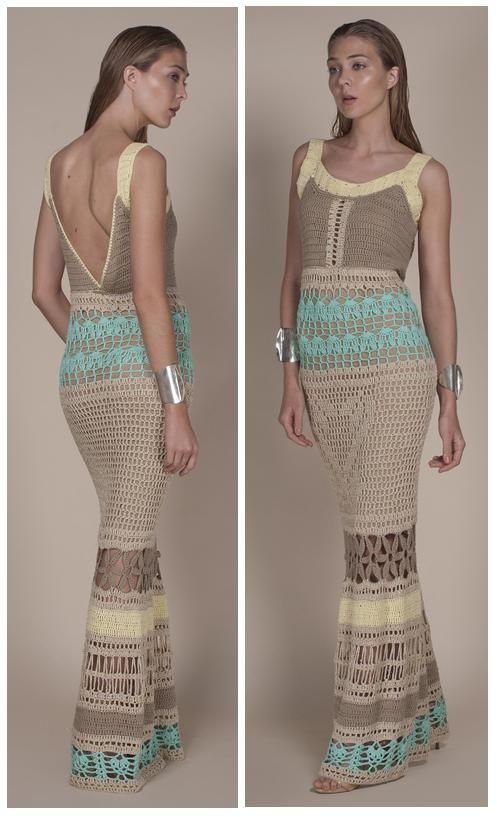 Agostina Bianchi multicolor long crochet dress