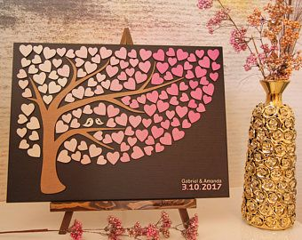 JubileeTree -Wedding Guestbook new alternative Personalized guest book 3D tree of life with wood hearts Unique gift ideea guest book Sign in