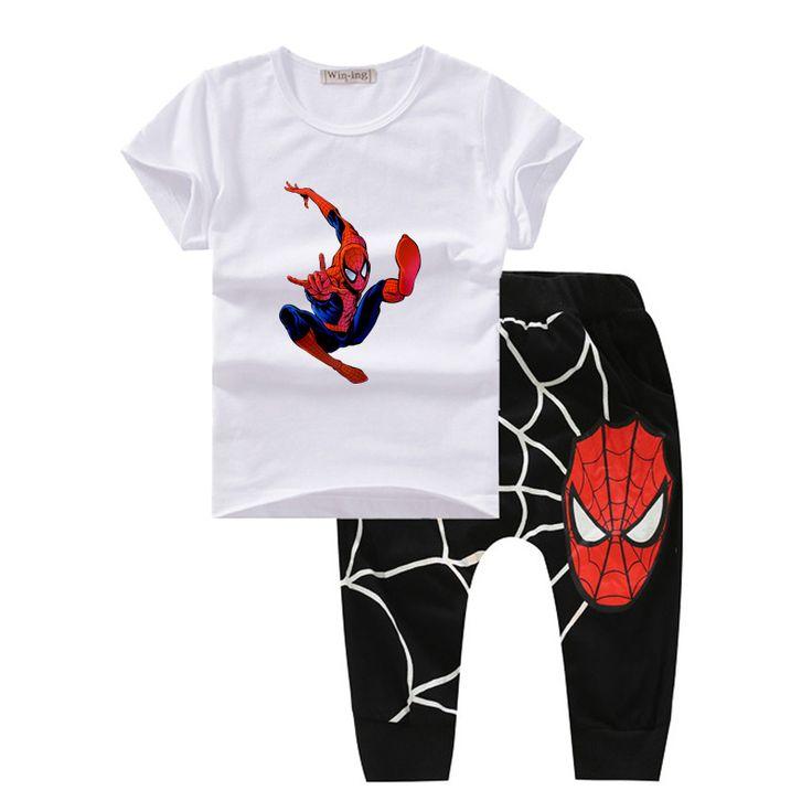 スパイダーマン子供服夏夏2017子供衣装男の子の服ファッション幼児男の子服セットオーガニックコットンt601