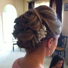 classic updo wedding hair with flowers