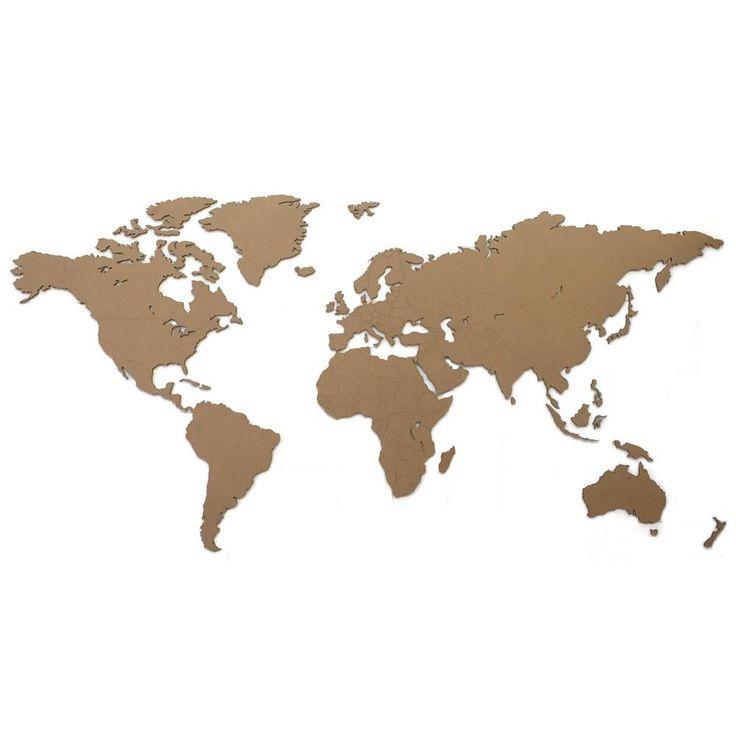 Deze kartonnen wereldkaart is ideaal aan de