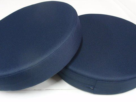 Round Outdoor Foam Cushions In Atlanta Dark Blue With Hidden Zip. Ideal  Cushions For Patio