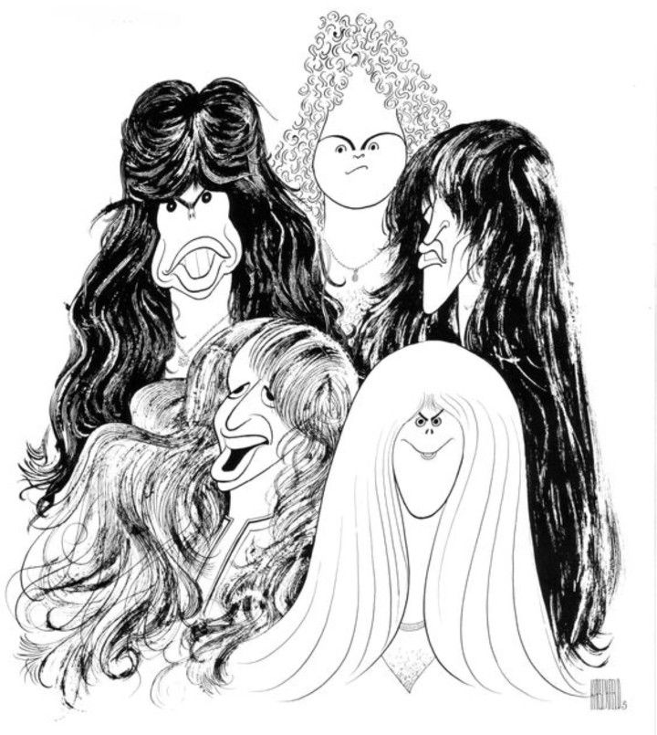 "Aerosmith ""Draw the Line"" album cover drawn by famous artist Al Hirschfeld.  After the birth of his daughter ""Nina"", Hirschfeld started hiding his daughter's name within his drawings."