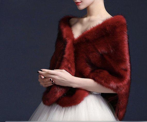 Estola de piel novia nupcial mantón gris por MagicTulleCouture